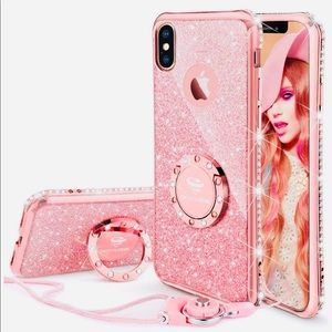 Rhinestone Case W/ Finger Ring Strap For iPhone X